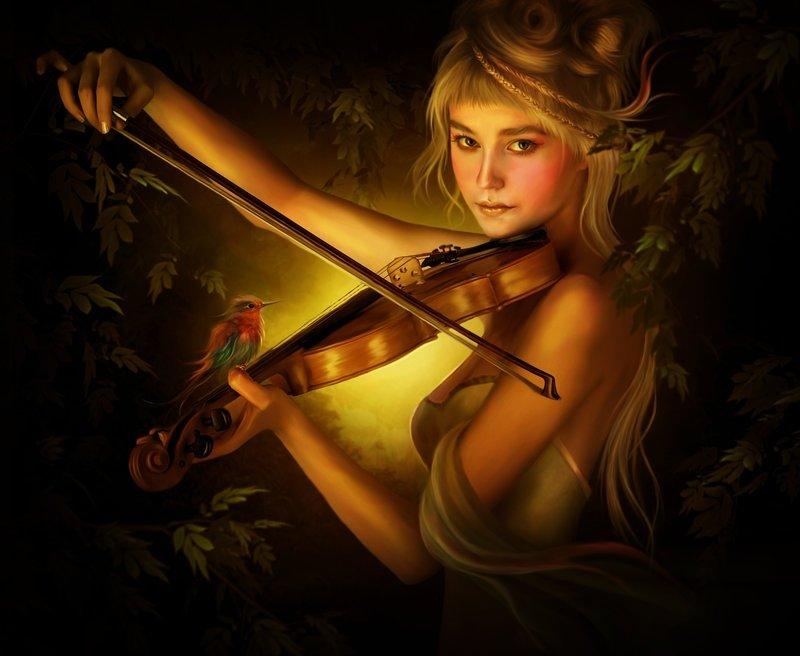 la violoniste joue pour le petit oiseau. dans intruments de musique 4fafbdec